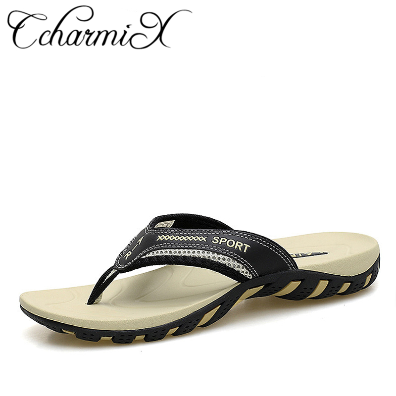 CcharmiX 2019 Summer Men Shoes Fashion Mens Flip Flops Trendy Anti-slip Leather Men Casual Shoes Classic Massage Beach Slippers(China)
