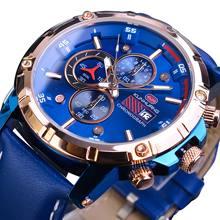 лучшая цена Luxury Men Sports Watches Blue 3 Sub Dial Calendar Display Quartz Rose Gold Waterproof Leather Band Military Watch Wristwatches
