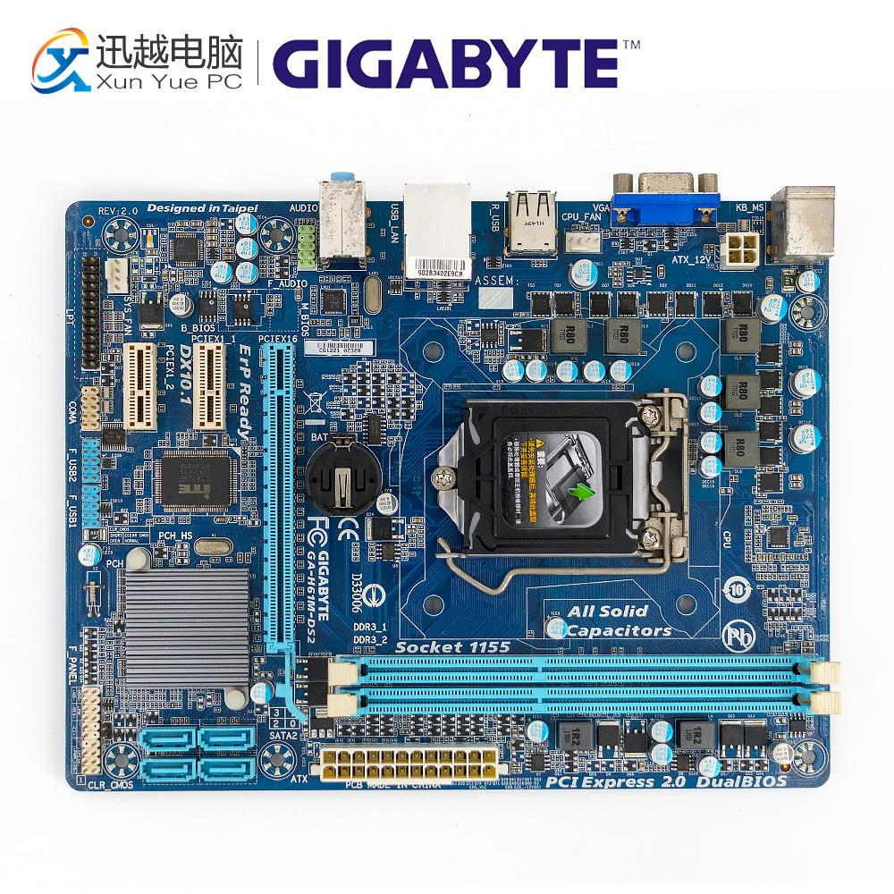Gigabyte GA-H61M-DS2 Desktop Motherboard H61M-DS2 H61 Socket LGA 1155 DDR3 Micro-ATX On Sale original motherboard for gigabyte ga f2a55m ds2 ddr3 socket fm2 f2a55m ds2 board a55 usb2 0 desktop motherborad free shipping