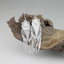 999 Sterling Silver Earrings Drop Tassel Earing Long Flower Vintage Women Female 100% Handmade Ethnic Jewelry New Year Gifts цена