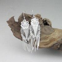 999 Sterling Silver Earrings Drop Tassel Earing Long Flower Vintage Women Female 100% Handmade Ethnic Jewelry New Year Gifts