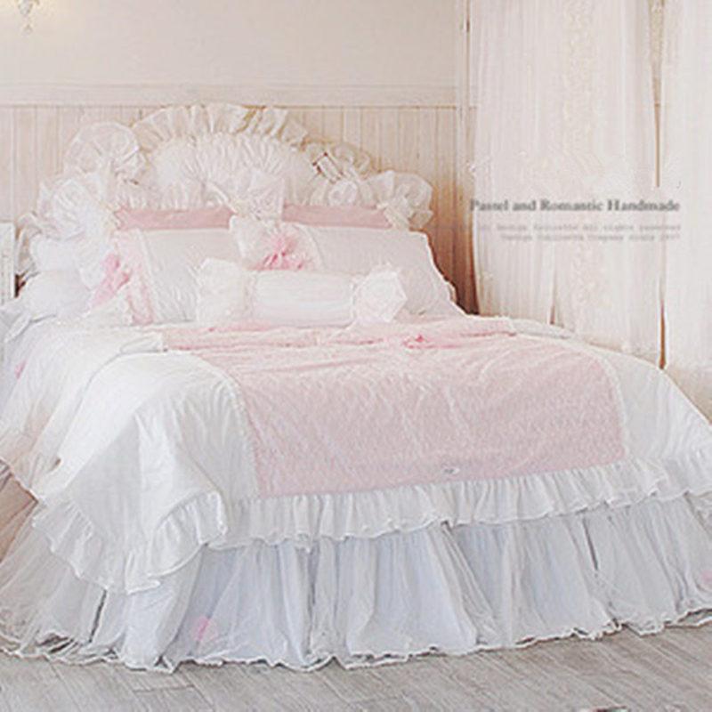 romntico dulce princesa de encaje sistema del lecho funda nrdica acolchado hilo hoja de cama colcha