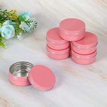 Pink 5g 10g 15g 30g 50g 60g Aluminum Jars Lip Balm Pot Skin Care Cream Eyeshadow Liquid Base Foundation Container Tins 50pcs