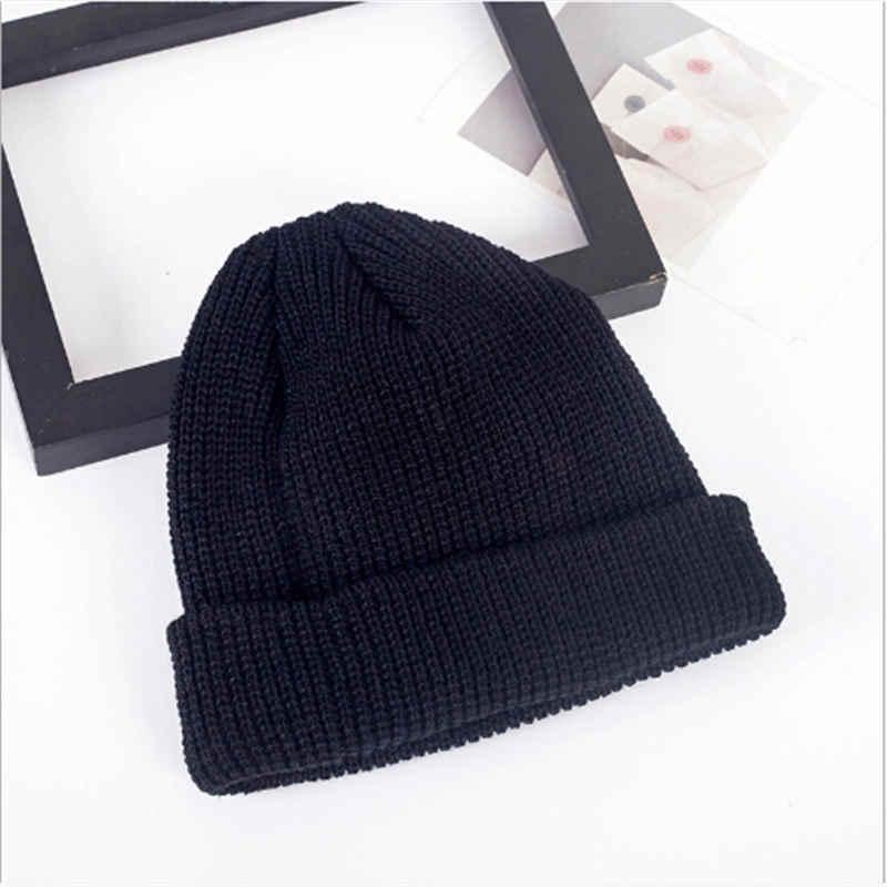 c6b4b29ad53 ... Fashion Men Women Beanie Hat Winter Warm Knitted Solid Cute Cap Casual  Bonnet Turn Ski Fisherman ...