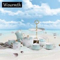 Wourmth Европейский стиль Чай набор костяного фарфора Кофе комплект Керамика чашка и блюдце Услуги для 6 человек подарок на день рождения