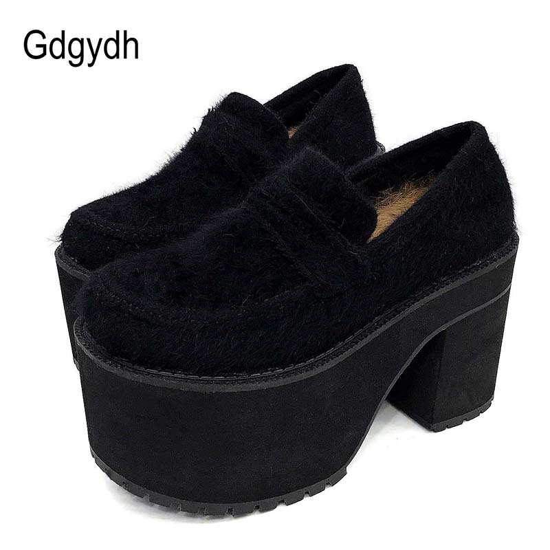 Gdgydh 2019 Spring Shoes Woman Block Heel Shoes Platform Winter Autumn Shearling Fur Ladies Casual Shoes
