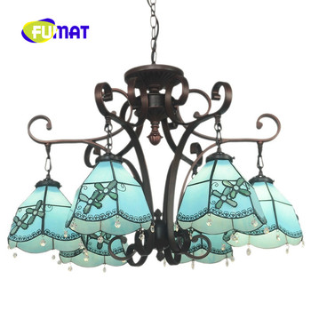 FUMAT Màu Xanh Địa Trung Hải phong cách Bốn cánh Hoa Flower Tiffany 6 Đèn Chùm Đầu Kính Màu Nhà Hàng Phòng Ngủ Phòng Khách
