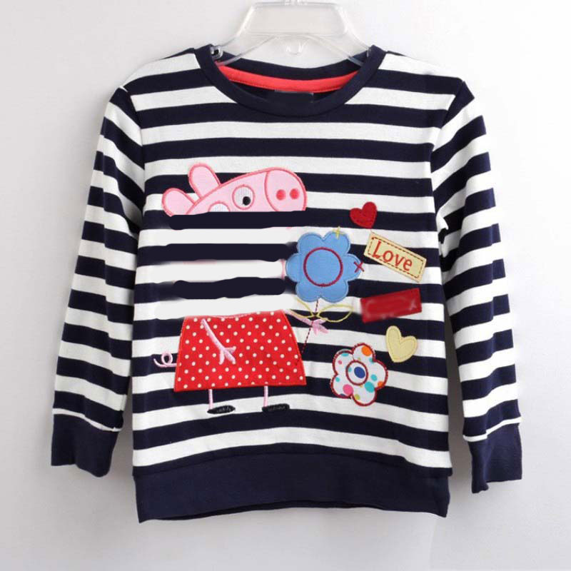 все цены на 2018 Fashion Children Clothes For Girls T-shirt Striped Kids Tops Spring Long Sleeve Girls t shirt Cotton Cartoon Flower Pig
