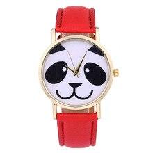 Модные Повседневное прекрасный панда детские часы Для женщин кварцевые наручные часы кожаный Обувь для мальчиков Обувь для девочек часы-браслет Relogio feminino подарок