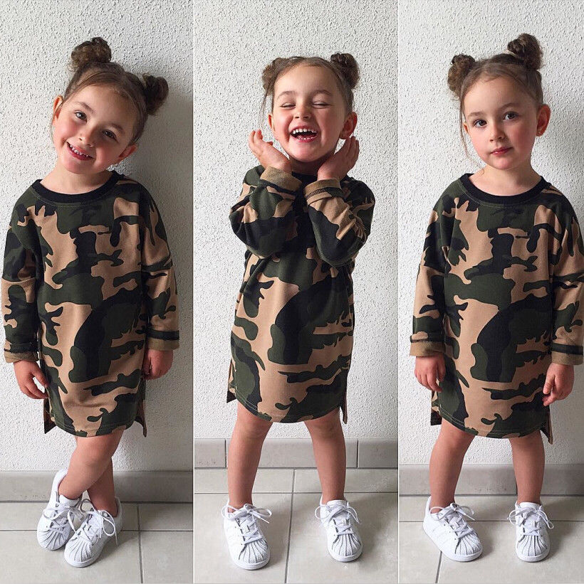 Fashion Kids Baby Girls Camouflage Tunic Tops