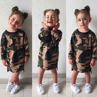 Mode Kinder Baby Mädchen Camouflage Tunika Tops
