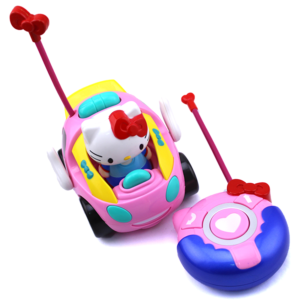 brand new remote control electric rc car for girls musical light pink toy car hello kitty