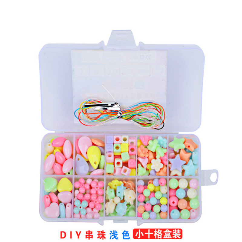 Diy 10 Grids Candy Colors Children's Puzzle Bracelet Geometric Shape Toys For Girls Amblyopia Wear Beads Kids Educational Gifts