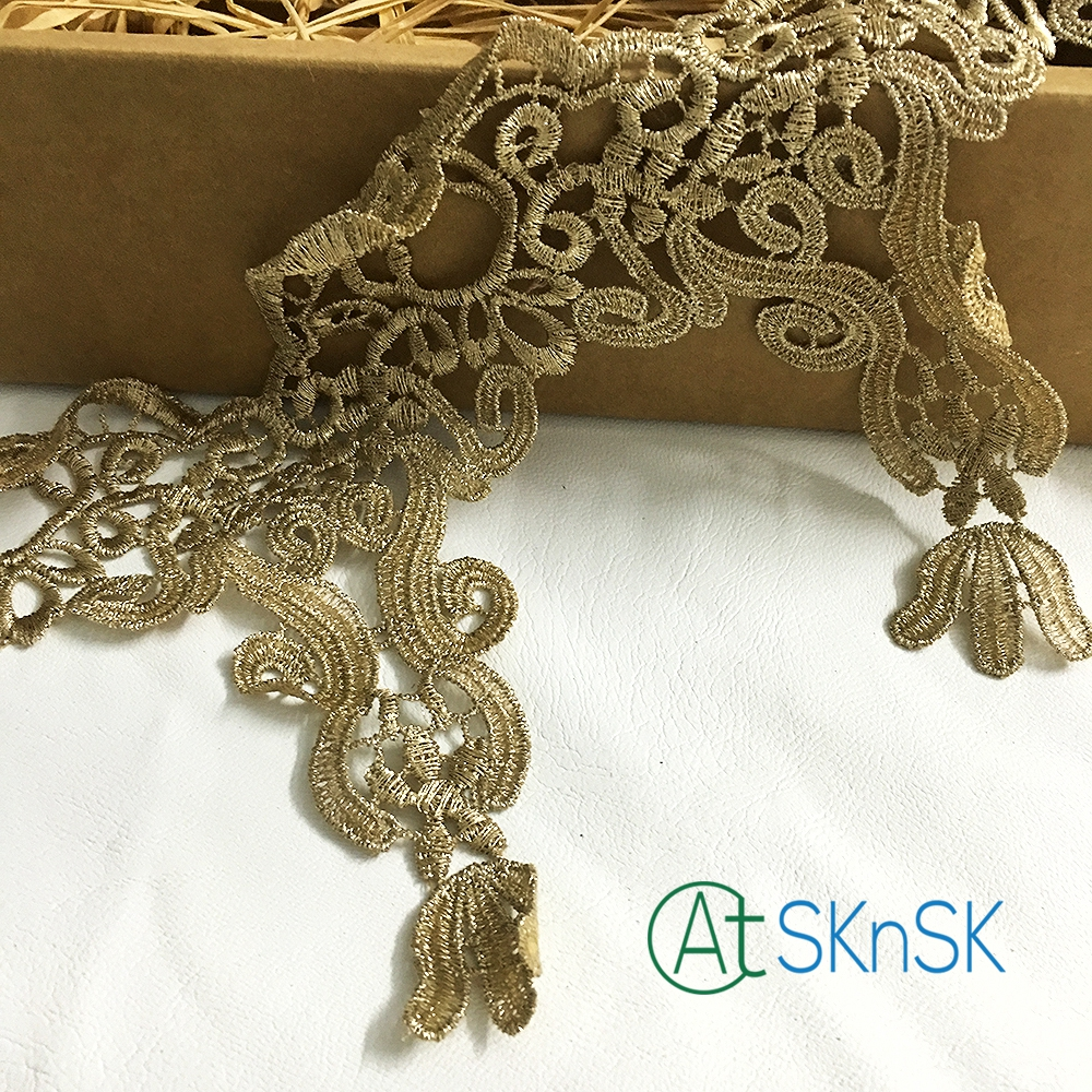 Newest lace5 yard/lot 13cm width superb design lace trim african guipure gold flower embroidered nigerian lace ribbon A2