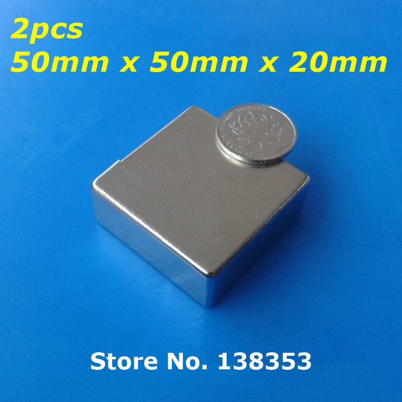 2pcs Bulk Super Strong Neodymium Square Block Magnets 50mm x 50mm x 20mm N35 Rare Earth NdFeB Cuboid Permanent Magnet 2pcs bulk super strong neodymium rectangle block magnets 50mm x 30mm x 5mm n35 rare earth ndfeb rectangular cuboid magnet