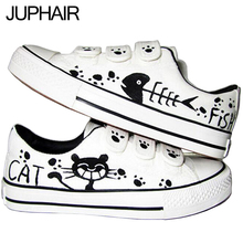 JUP Black Cat and Fish Panda Hook & Loop Shoes Fox Breathable Cow Muscle Soles Men Males Hand Painted Canvas  Fashion Footwear