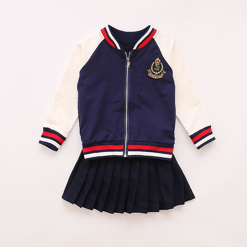 Spring 2017 Children s Clothing School Uniform Coat with Skirt 2pcs Suit Baby Girl formal Clothes