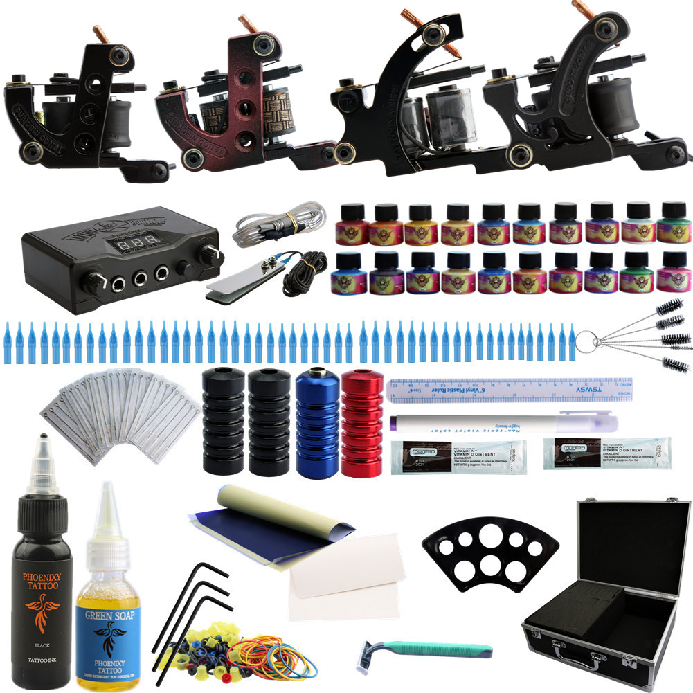 2018 New Arrival Tattoo Kit 4 Liner And Shader Tattoo Machines Set Guns 20 Colors Inks & 50pcs Needle Tattoo Nozzle & Grips 9656 early simple machines set
