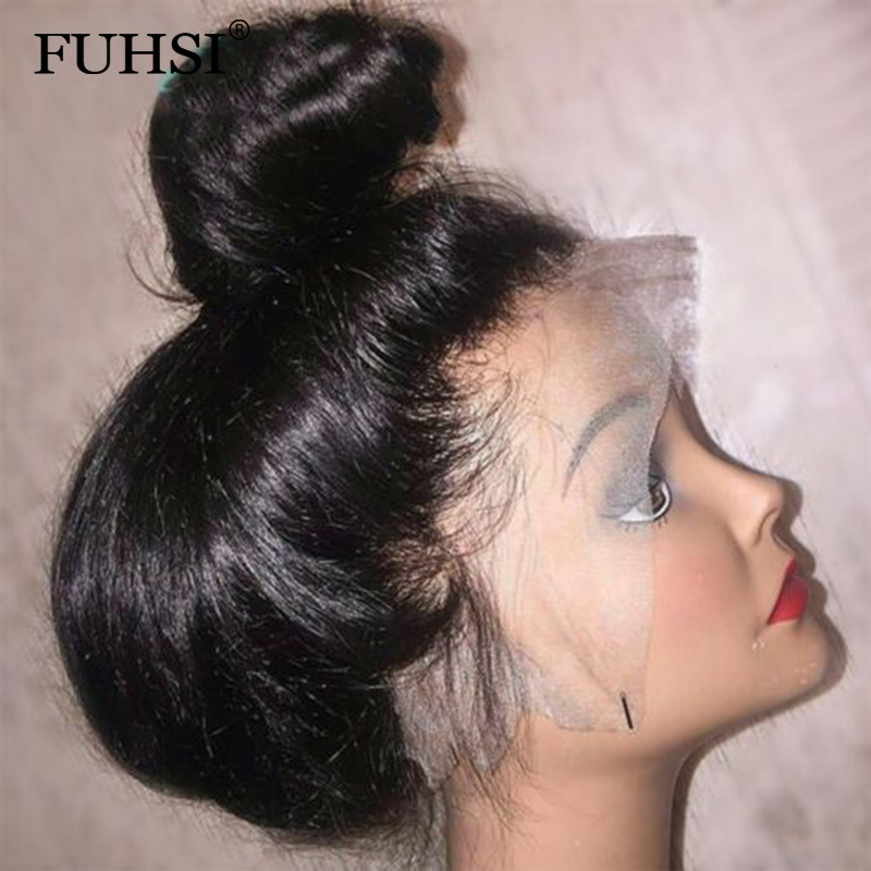 FUHSI Straight 360 Lace Frontal Human Hair Wig 150 Density Brazilian Remy Hair Gluesss Lace Front