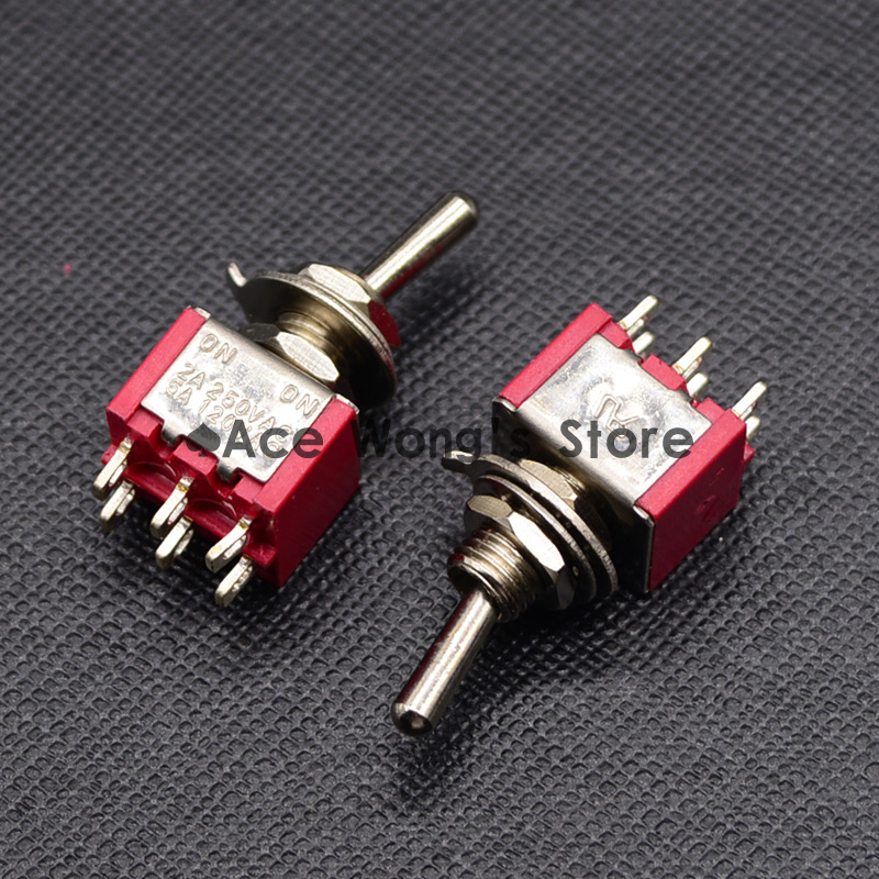 цены 5PCS Red Mini MTS-202 SPDT 6Pin 2 Position On-on Toggle Switches 2A 250V AC / 5A 120V AC