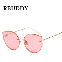 RBUDDY Cat eye Sun glasses Women Rimless Clear Lens Transparent Gold Metal Frame 2017 Pink Sunglasses shades zonnebril vrouwen