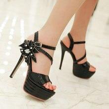 ขนาดบวก11 12สีดำP Eep Toeฤดูร้อนผู้หญิงรองเท้าแตะบางผู้หญิงส้นสูงปั๊มดอกไม้เซ็กซี่แพลตฟอร์มรองเท้าผู้หญิงแต่งงานสีชมพู