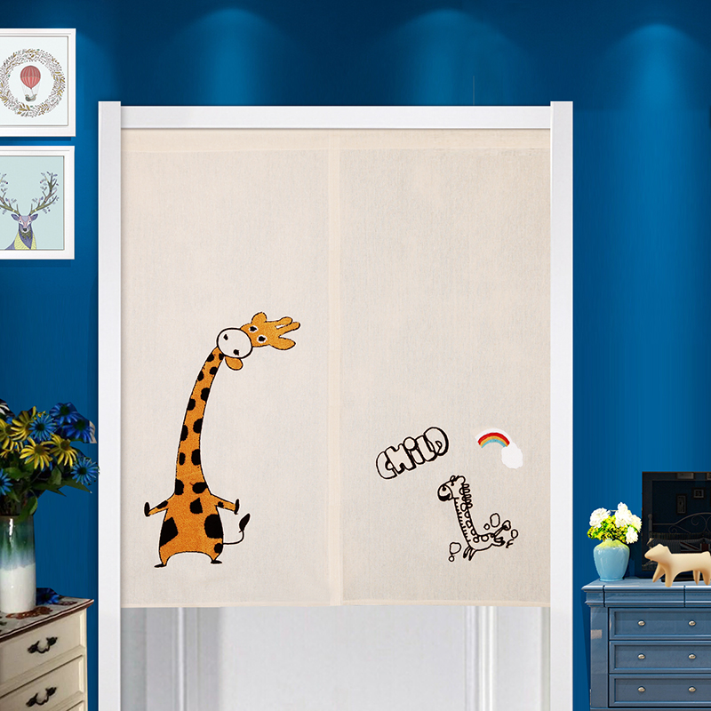 Cartoon Trees Curtains For Bedroom Cotton Linen Towel: Japanese Style Cartoon Giraffe Family Embroidered Door