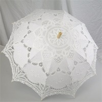 Nnew Fashion And Hot Selling Black Handmade Cotton Lace Parasol Umbrella Bride Wedding