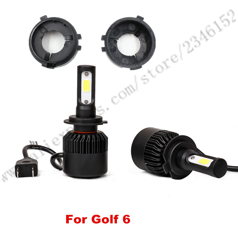 ФОТО H7 led headlight head lamp kit with adapter for VW GOLF6