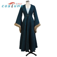 Game of Thrones Catelyn Stark Halloween Party Cosplay Costume Dark Green Long Dress For Women