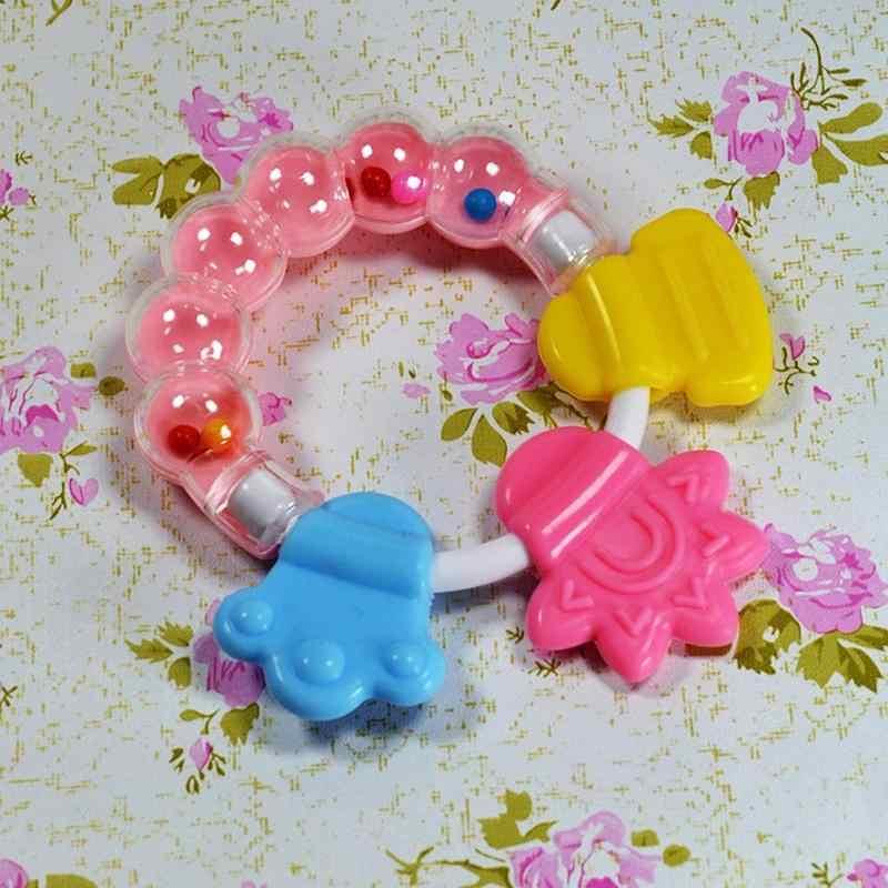 Noworodki grzechotki dla dzieci gryzak zęby gryzienie dla niemowląt grzechotka dla dzieci łóżko dla małego dziecka dzwonek silikonowy dzwonek Jingle Cartoon gryzak