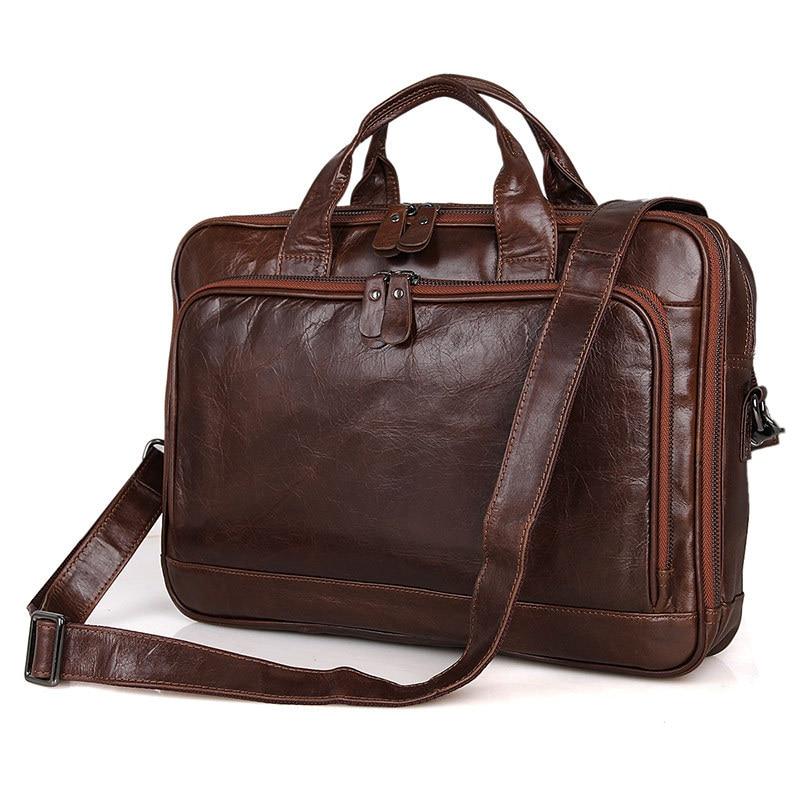 Nesitu Vintage Coffee Genuine Leather Men Shoulder Bag Messenger Bags Office Work 14'' Laptop Briefcase Portfolio #M7005