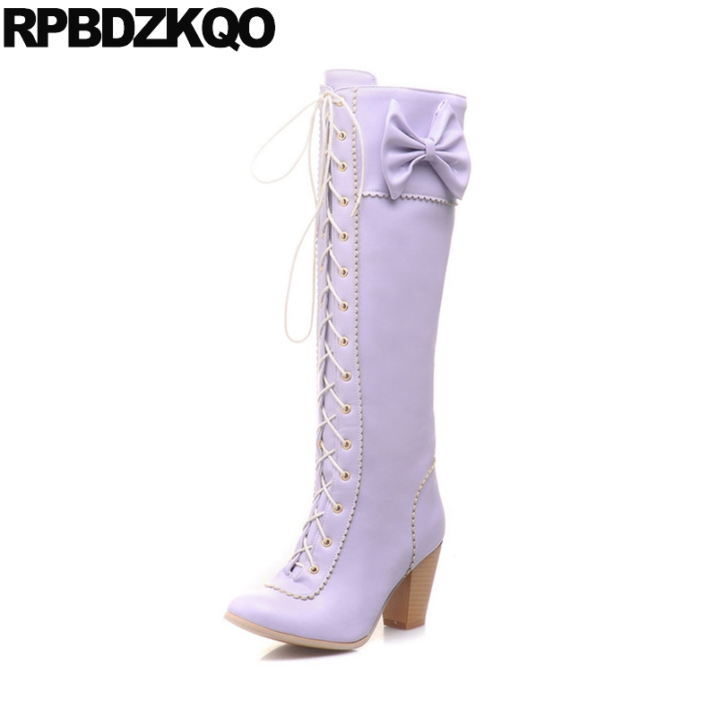 Women Boots Winter 2017 Lace Up Autumn Knee High Round Toe Shoes Long Big Size Lolita Heel 10 Purple Chunky Slim Japanese Bow spring autumn chunky 4cm low heels sweet bow lolita girls shoes pincess round toe vintage shoes plus size