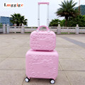 Hello Kitty 16inch Luggage Cabin &12inch Suitcase set,Women Child gift box,Lovely cartoon Trip case,universal wheels trolley