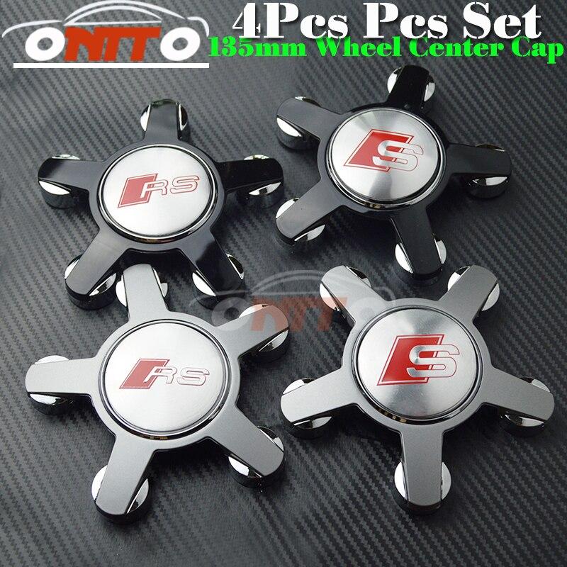 Hot sale wheel center Cover 4pcs set Car Logo Badge Emblem Car Auto wheel hub cap RS/S logo for A7 A8 Q1 Q3 Q5 Q7 TT R8 S RS