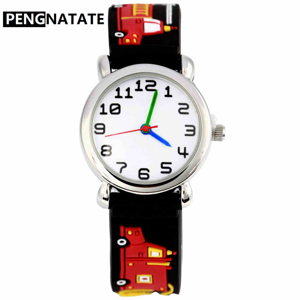 PENGNATATE Fashion Silicone Watch For Children 3D Cartoon Fire Truck Strap Kids Watches Students Boys Gifts Hot Sale Wristwatch