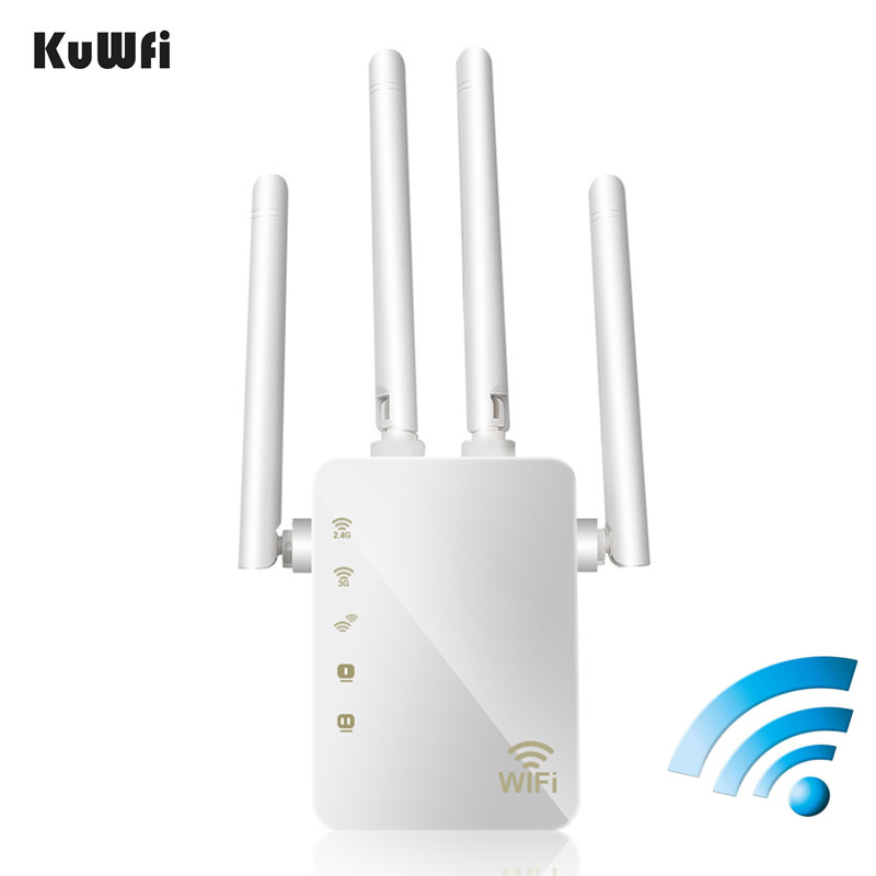 KuWFi 1200Mbps WiFi Repeater with 4 External Antennas, 2 Ethernet Ports, 2.4 & 5GHz Dual Band Signal Booster Full Coverage WiFiKuWFi 1200Mbps WiFi Repeater with 4 External Antennas, 2 Ethernet Ports, 2.4 & 5GHz Dual Band Signal Booster Full Coverage WiFi