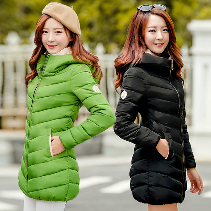 2017 New Ladies fashion warm Down Cotton-padded slim medium-long cute with a hood wadded jacket female outerwear Cheap wholesale