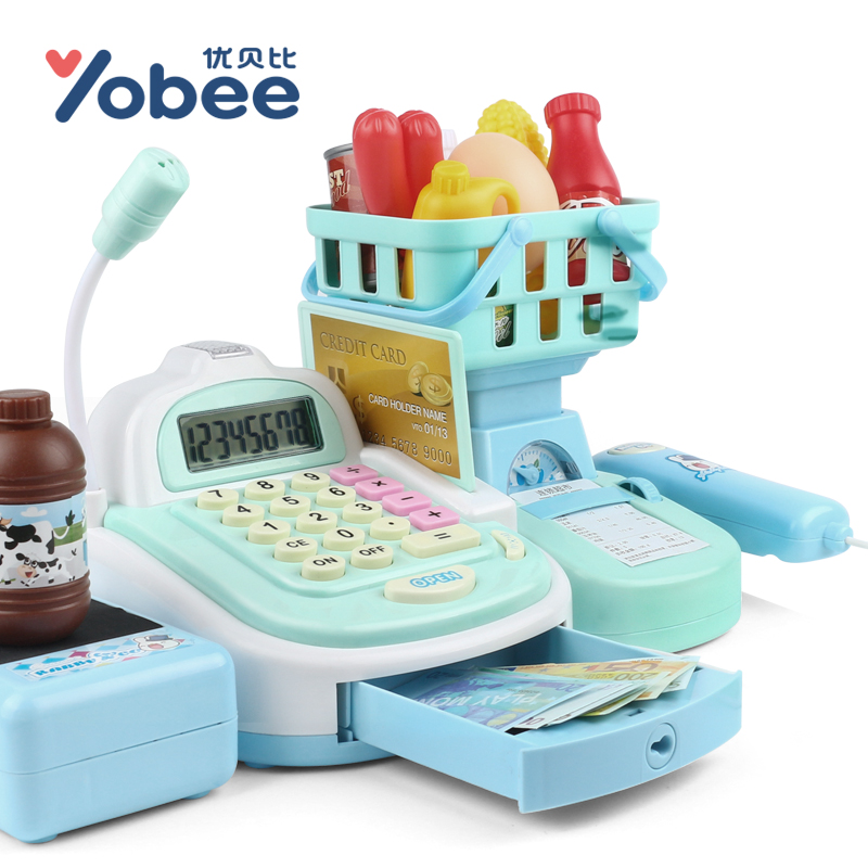 Yobee-Multi-functional-Cash-Register-Toy-Educational-Pretend-Play-Operated-Toy-Working-Calculator-and-Microphone-Scanner-4