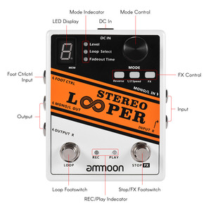 Image 2 - Good Quality Guitar Parts ammoon STEREO LOOPER Loop Record Guitar Effect Pedal 10 Independent Loops  Max. 10min Recording Time