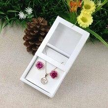 Collier carte fenêtre boîte blanc 1Lot = 50 boîte + 50 pièces carte intérieure perle blanc collier boîte cadeau boîte pendentif boîte/boucle doreille Case