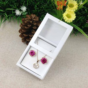 Image 1 - Necklace Card Window Box white 1Lot =50box +50 pcs inner Card Pearl White Necklace Box Gifg BOX Pendent Box / Earring Case