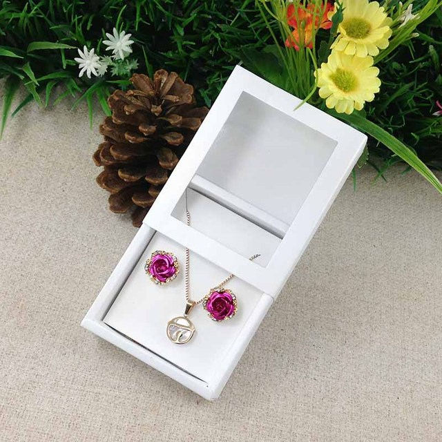Necklace Card Window Box white 1Lot =50box +50 pcs inner Card Pearl White Necklace Box Gifg BOX Pendent Box / Earring Case
