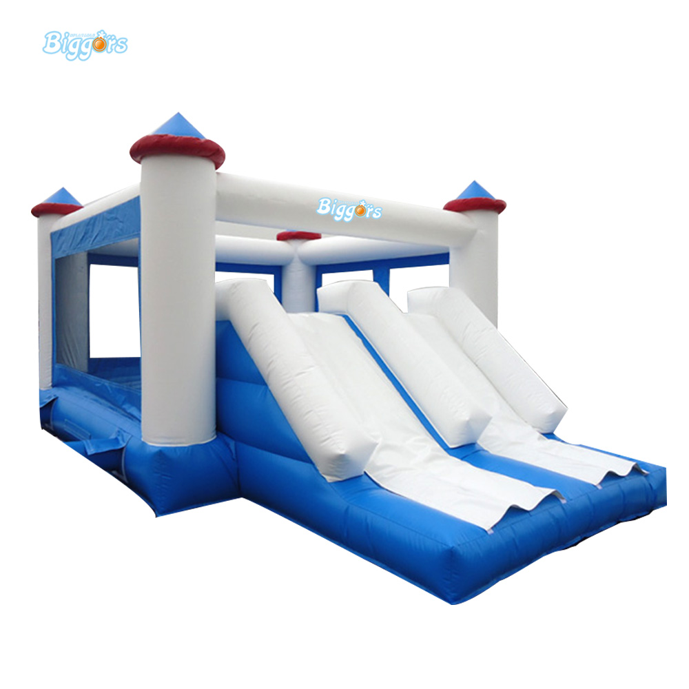 Commercial Grade Inflatable Trampoline Bounce Double Slide Castle With Blowers 6 4 4m bounce house combo pool and slide used commercial bounce houses for sale
