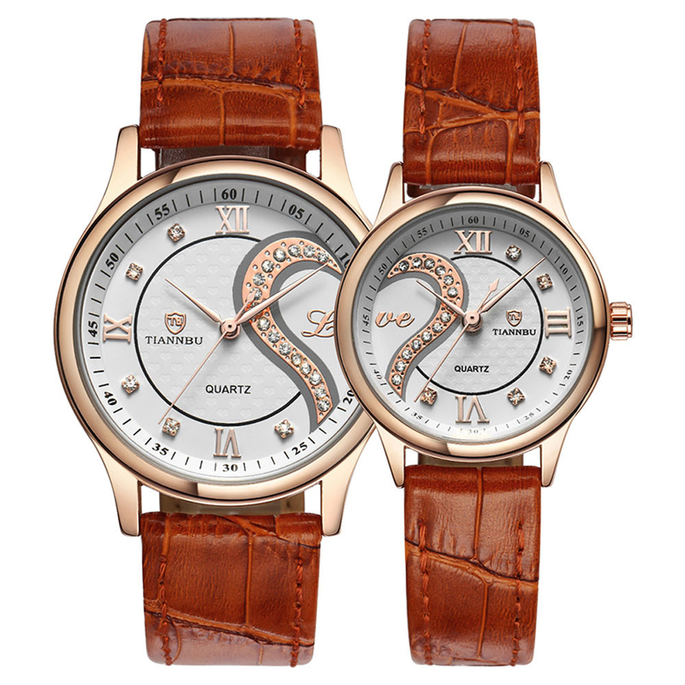 1 Pair Tiannbu Ultrathin Leather Romantic Fashion Couple Wrist Watches