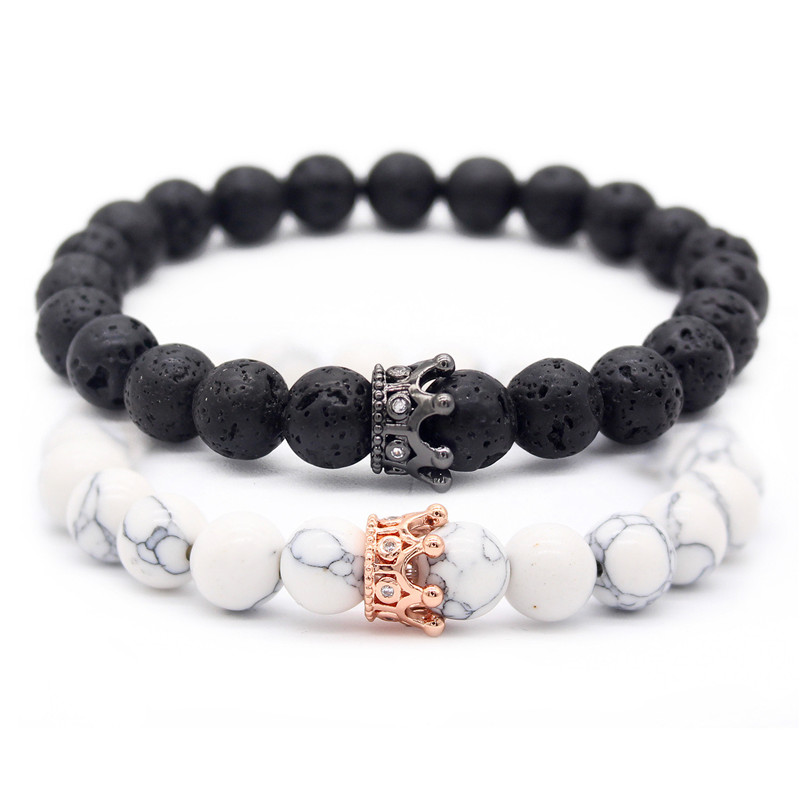 8mm Natural Stone Beads Bracelets & Bangles King Queen Couple Bracelet For Lovers  His And Hers Jewelry Handmade MBR180309