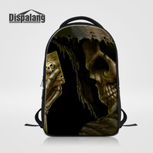 Dispalang мужчин и женщин большой повседневный рюкзак 3D с принтом черепа ноутбук рюкзаки для подростков детская дорожная сумка студент школьная сумка