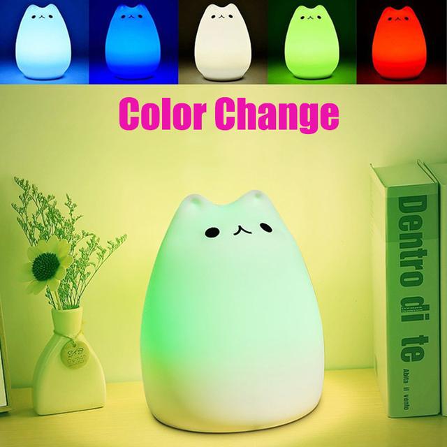 Mudando A cor do Gato Silicone Atmosfera Carga USB Luz Da Noite LEVOU Lâmpada de Cabeceira Lâmpadas de Decoração Para Casa Melhor Presente Para Criança Crianças