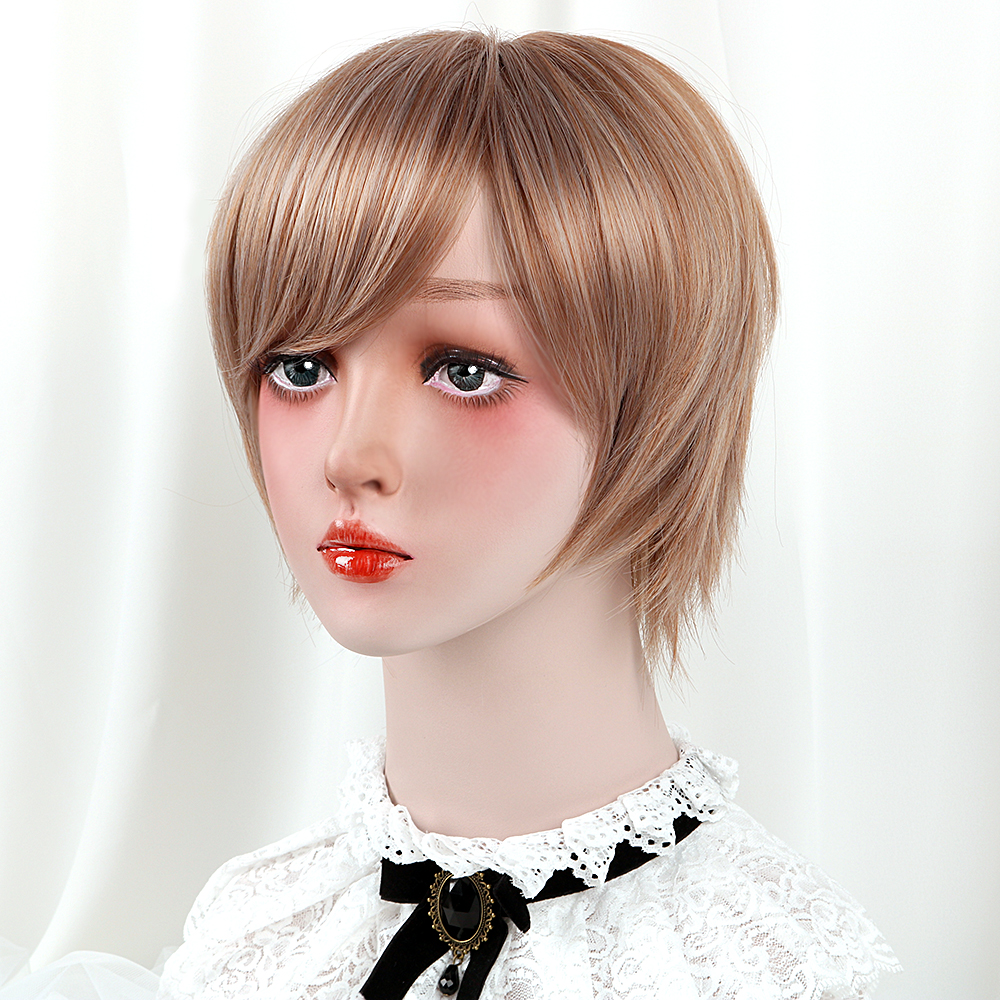 Short Straight Lolita Wig With Gradient Bangs Frosted Bob Wigs Synthetic Hair Brown 10 Anime Cosplay Wigs For Women Hp-l-012 Home