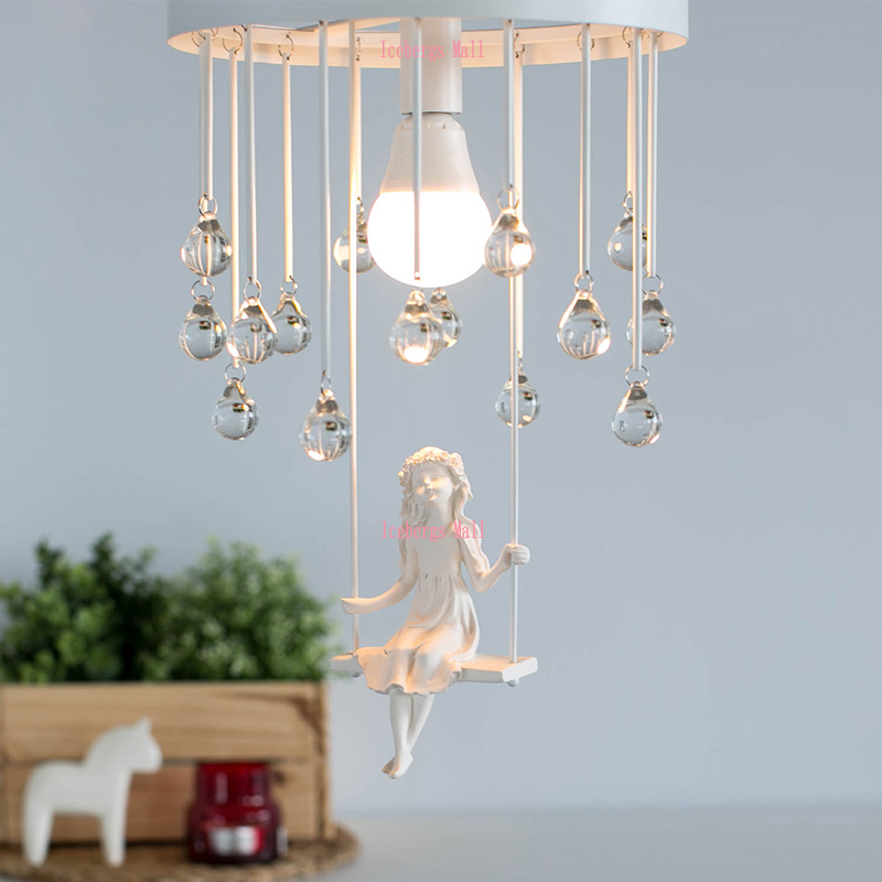 Nordic Modern Aisle Crystal Ceiling Chandelier Light Sweet Little Girl Chandeliers Lamp Lighting For Living Rooms